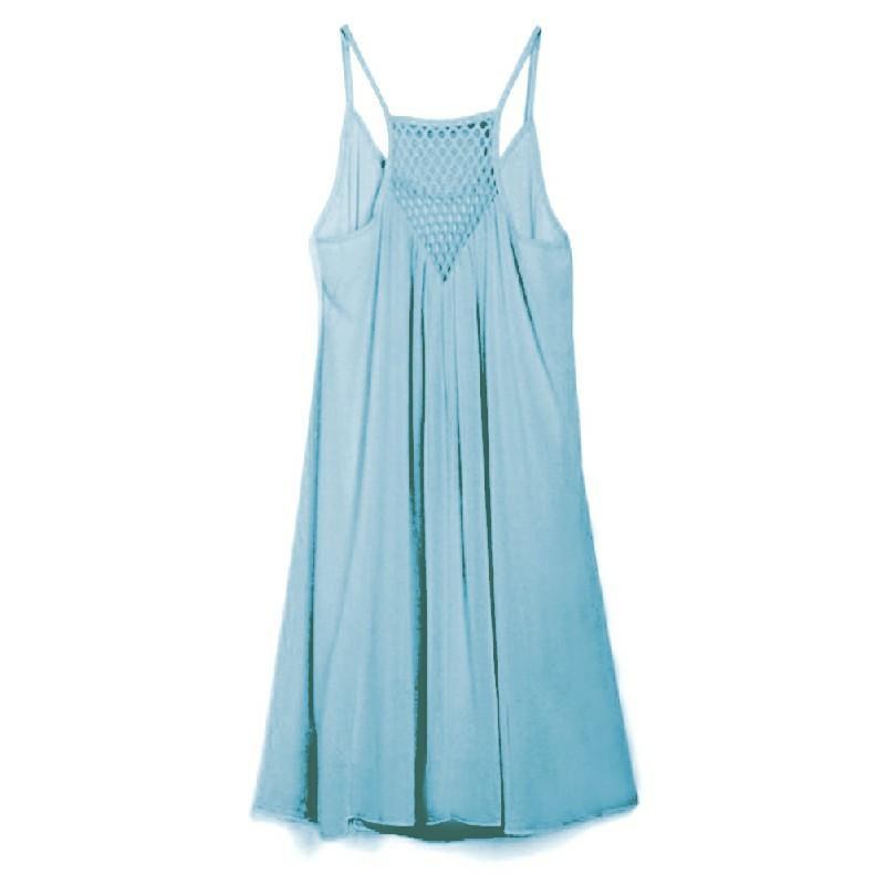 Women Holiday Chiffon Beach Wear Bikini Cover Up Light Blue - 2XL