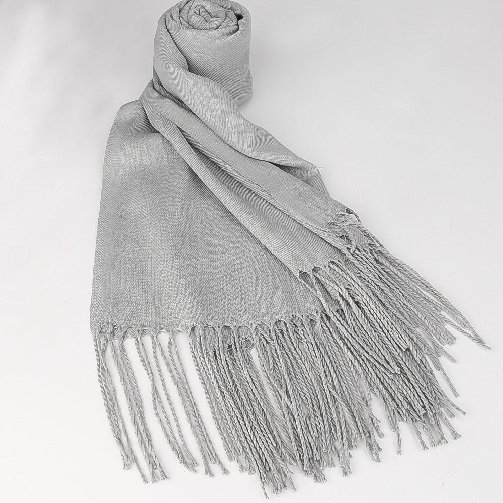 Women Winter Warm Scarf Cashmere Imitation Blend Long Wrap Shawl Pure Knitted Scarf Pashmina for Lady - Light Grey