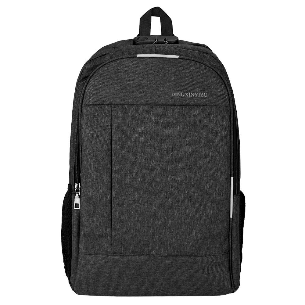 Canvas Laptop Backpack Rucksack Work Travel Casual Password Lock with USB Charging Port - Black