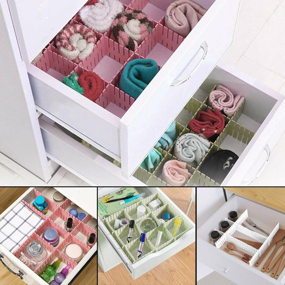 4pcs Drawer Organizer Divider Partition Storage Wardrobe Plastic Clapboard - Pink