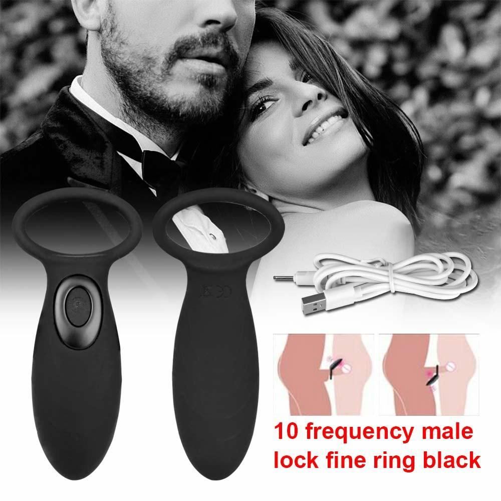 10 Modes Vibrating Cock Ring USB Penis Ring Vibrator Dual Pleasure - Black