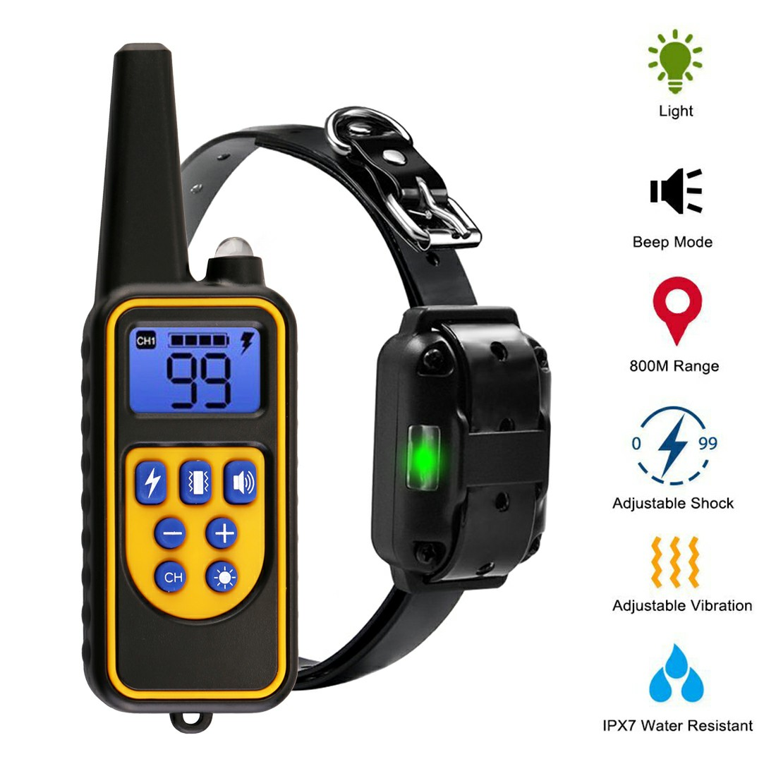 300m Waterproof Pet Dog Training Collar Rechargeable Electric Shock LCD Display
