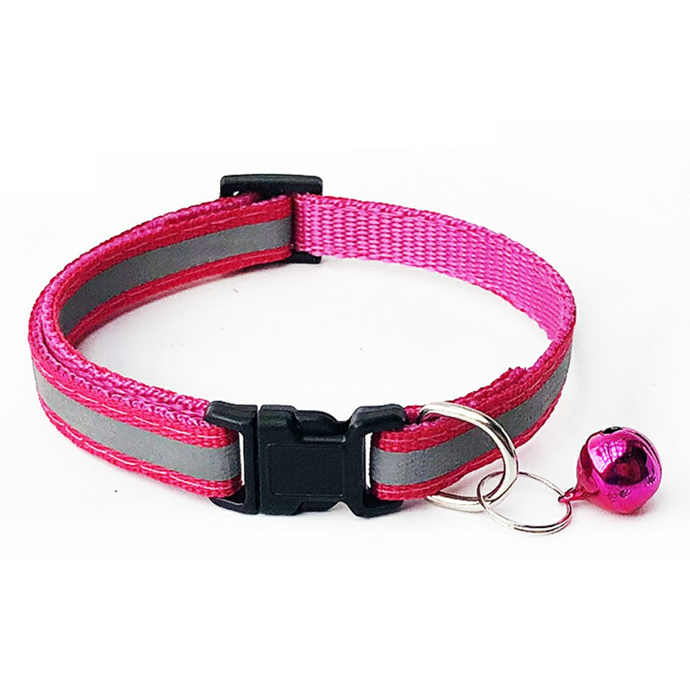 Puppy Cat Kitten Dog Soft Glossy Reflective Bell Collar Choker Safety Buckle for Little Pet Size S - Pink