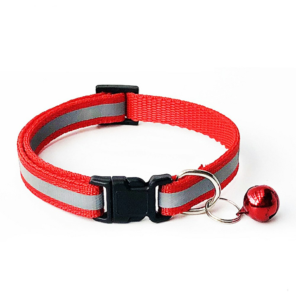 Puppy Cat Kitten Dog Soft Glossy Reflective Bell Collar Choker Safety Buckle for Little Pet Size S - Red