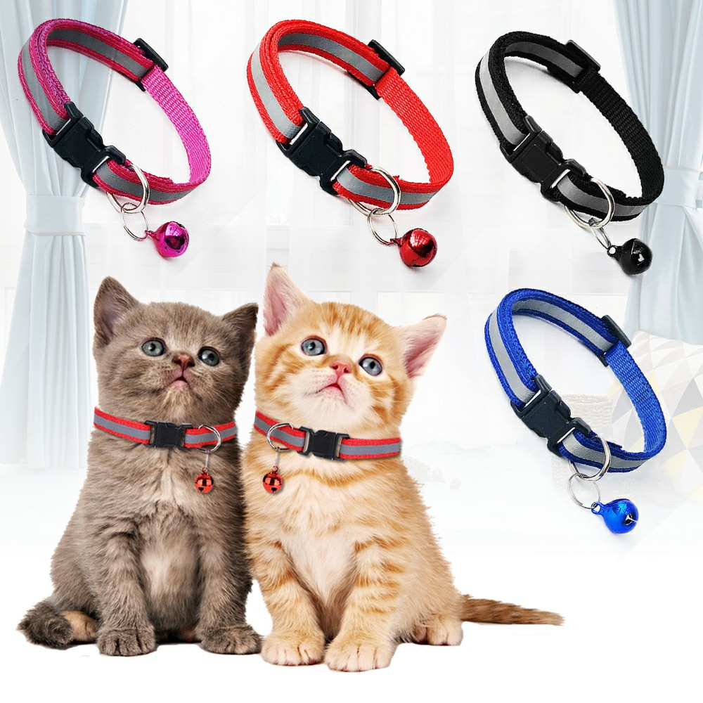Puppy Cat Kitten Dog Soft Glossy Reflective Bell Collar Choker Safety Buckle for Little Pet Size S