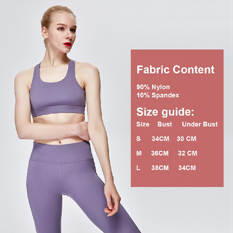 Sports Bra Running Fitness Yoga Bra - Purple M