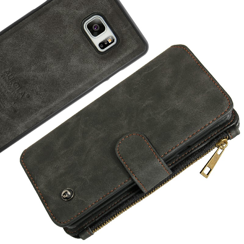Leather Zipper Case with Card Slot Wallet Phone Case for Sammsung Note7