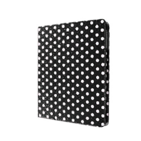 Flip Stand PU Leather Case Multiple Viewing Polka Dot Cover for iPad 2/3 - Black