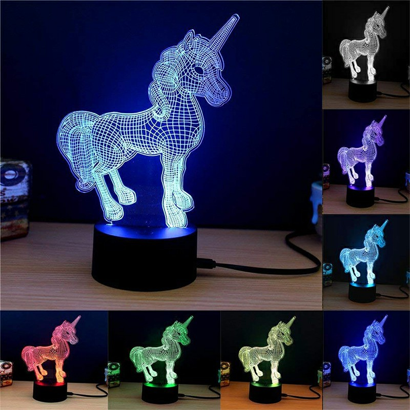 Acrylic 3D Unicorn Night Lamp 7 Colors Changing RGB Gradient Light Table Desk Lamps for Kids Adults Gift