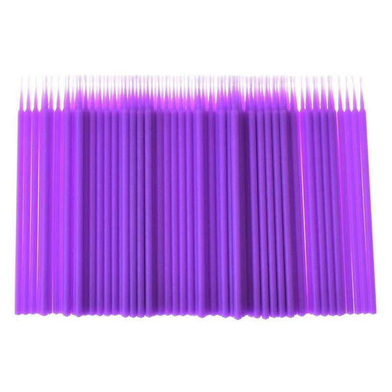 100Pcs/Lot Durable Micro Disposable Eyelash Extension Mascara Brush Eyelashes Glue Cleaning Stick Size S - Purple