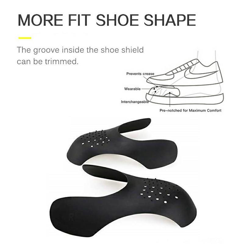 Shoe Trainer Protector Reusable Anti Crease Sneaker Shields Toe Box Decreaser for Men UK 7-12 - Black