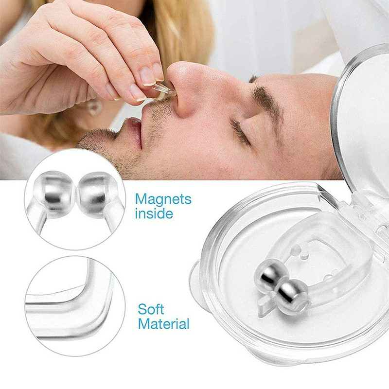 4 PCS Snoring Stop Silicone Magnetic Anti Snore Nose Clip Device Silent Sleep