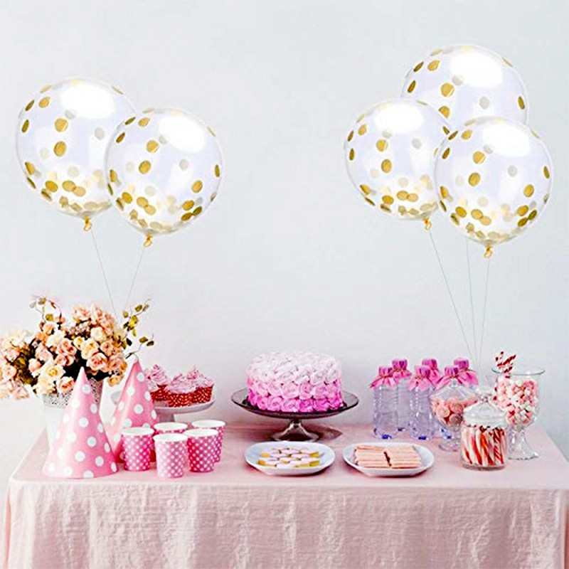 Bunting Banner and Foil Latex Confetti Round Sequins Balloon for Wedding Birthday Hen Party - White