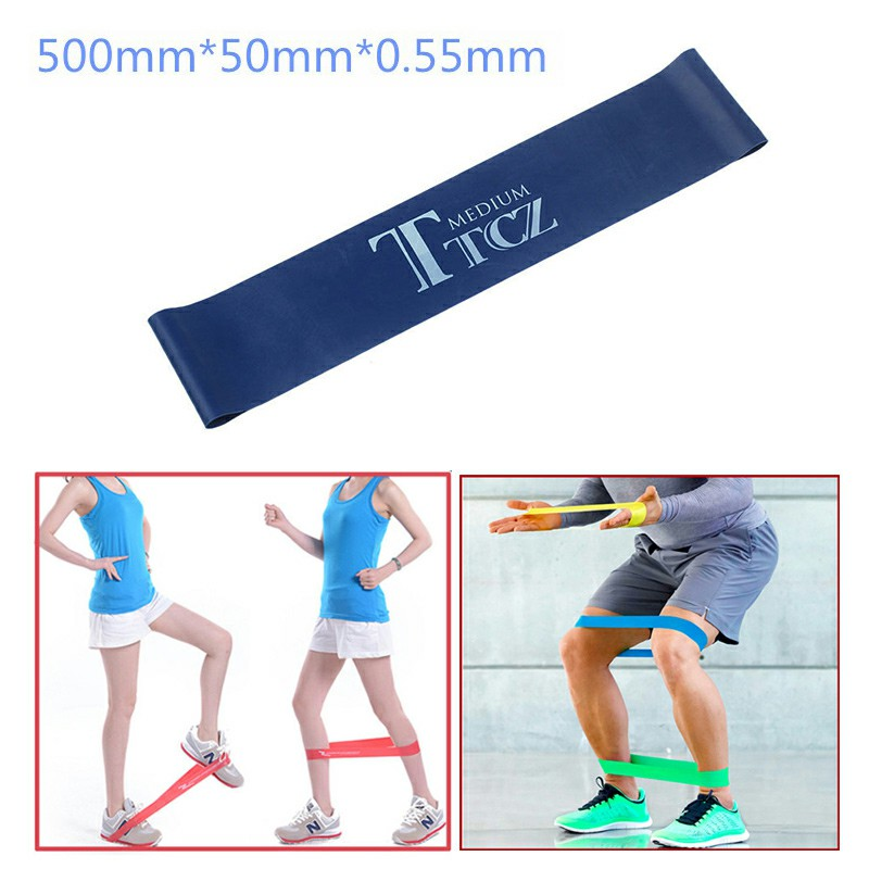 Exercise Fitness Resistance Bands Yoga Pilates Loop Training Crossfit Gym Strap 500x50x0.55mm - Blue
