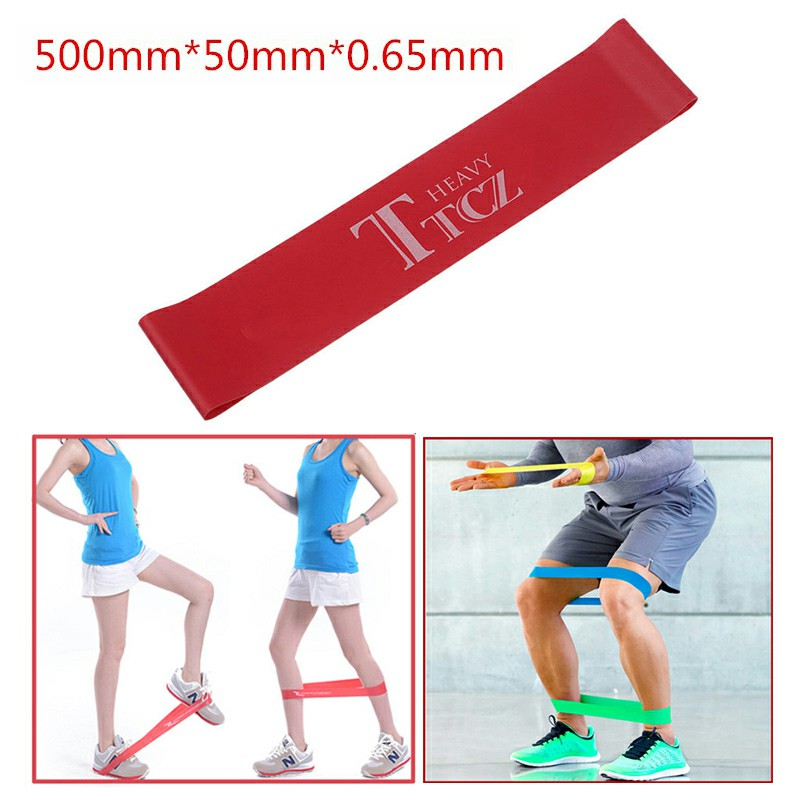 Exercise Fitness Resistance Bands Yoga Pilates Loop Training Crossfit Gym Strap 500x50x0.65mm - Red