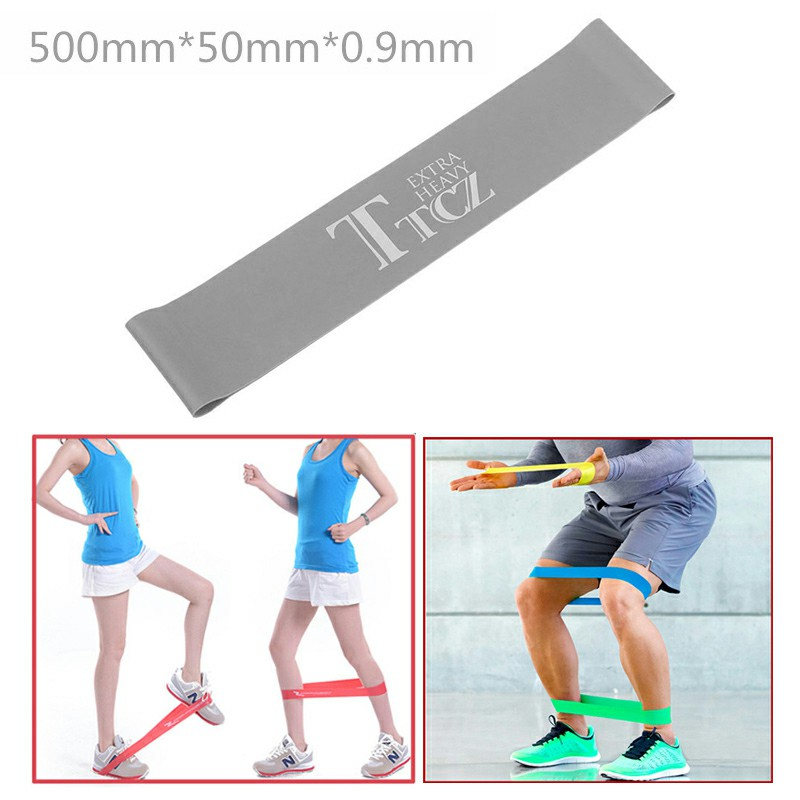 Exercise Fitness Resistance Bands Yoga Pilates Loop Training Crossfit Gym Strap 500x50x0.9mm - Gray