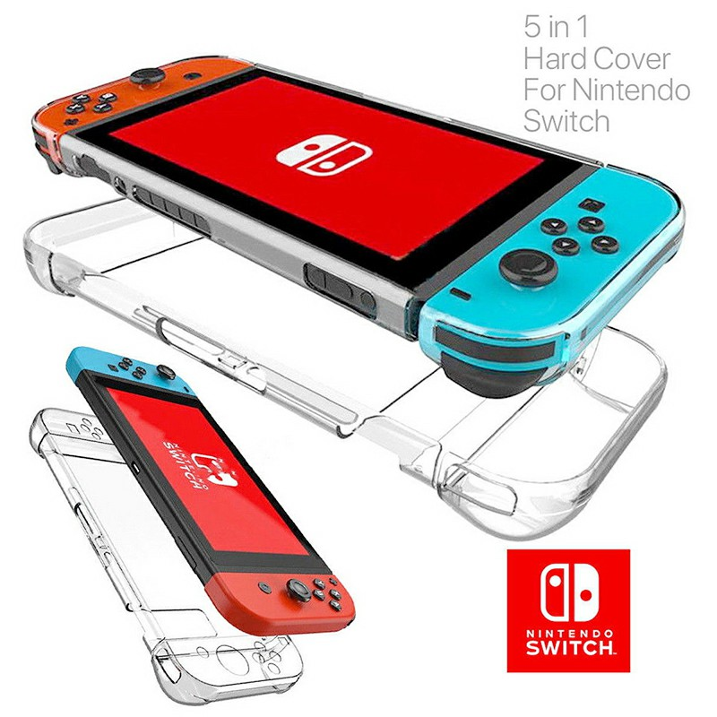 5 in 1 Nintendo Switch Transparent Clear Shockproof Protective Hard Case Cover