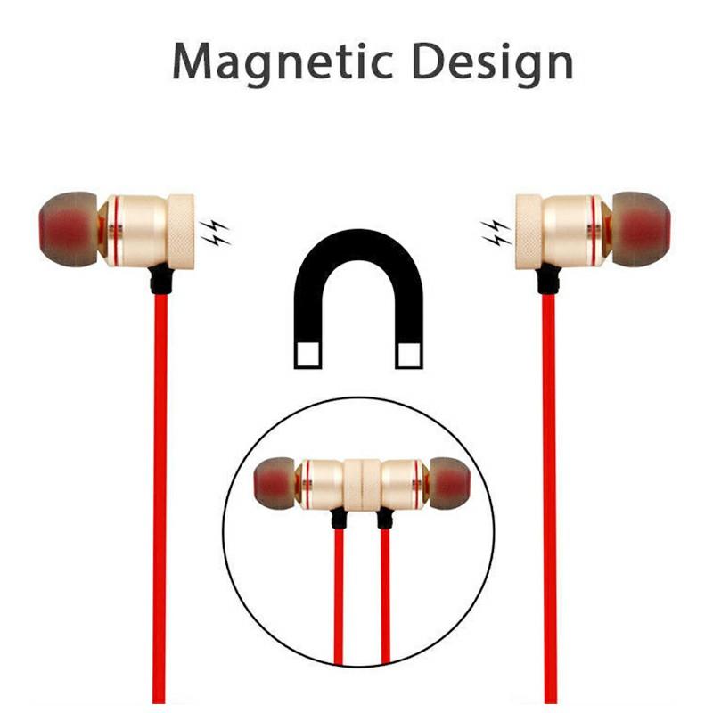 Magnet Wireless Bluetooth Earphone Stylish Sports Headset - Red