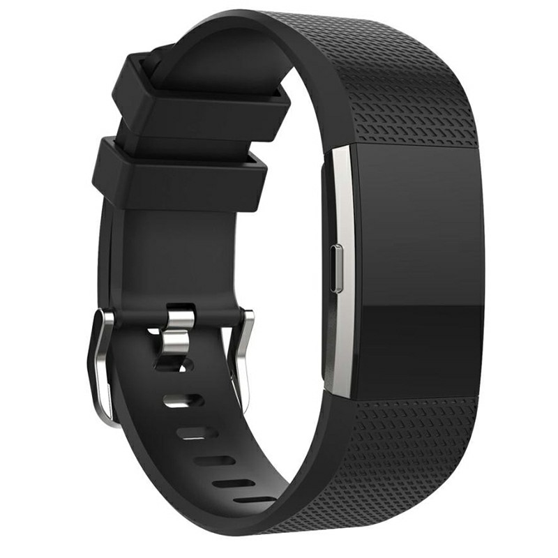 Fitbit Charge 2 Strap Band Silicone Relacement Wristband Size L - Black