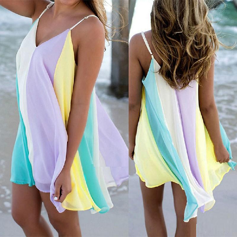 Fashion Summer Chiffon Rainbow Harness Dress Size L