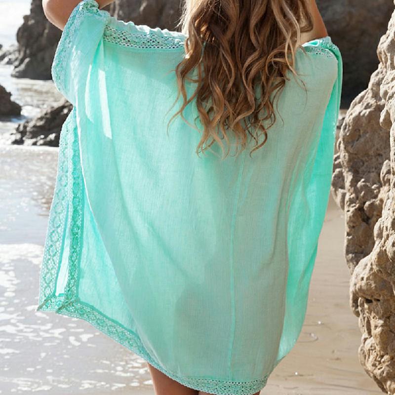 Women Sexy Bikini Cover Up Lace Beach Dress Tops - Green