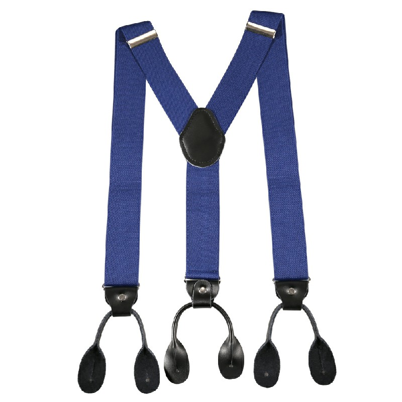 Youth Adjustable Trouser Belt Suspender Leather Button Braces - Blue