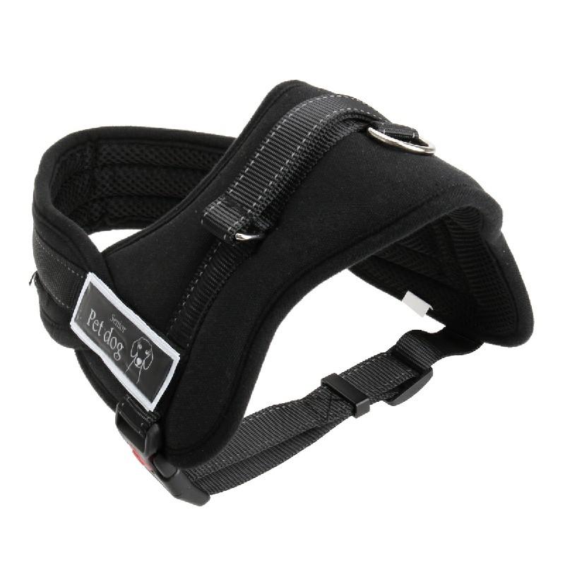 Dog Soft Vest Harness Walk Collar Chest Strap - Black XL