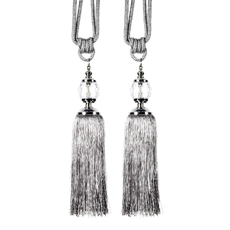 1 Pair Tassel Curtain Tiebacks with Crystal Ball - Silver