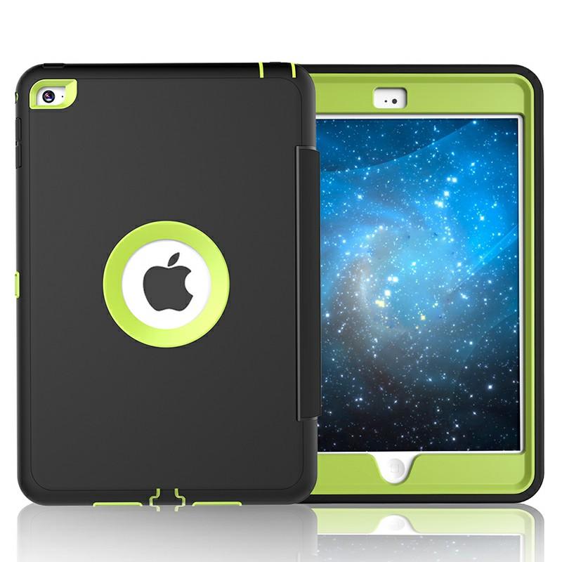 3 Layers PU Protective Case Auto Sleep Wake Folio Stand for iPad Mini 4 - Green