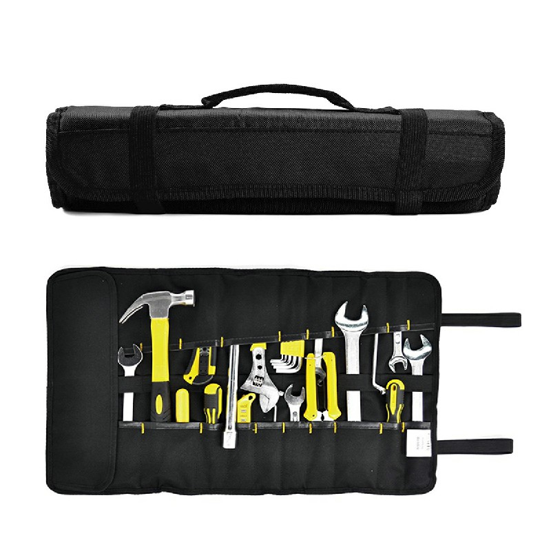 22 Pockets Hardware Tools Roll Bag Carry Pouch for Electricians Carpenters - Black