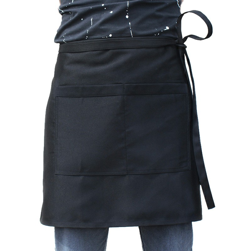 Cooking Short Apron Universal Restaurant Bistro Plain Half Wrist Aprons with Twin Double Pockets - Black