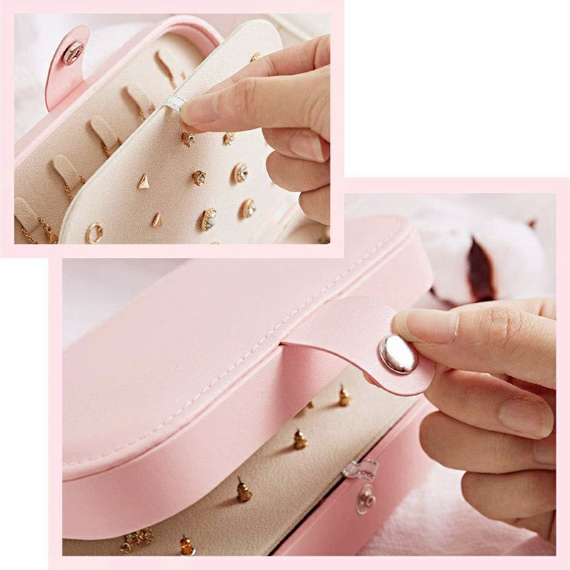Mini Small Jewelry Organizer Display Storage Case for Women Earrings Rings Leather Box Organiser - Pink