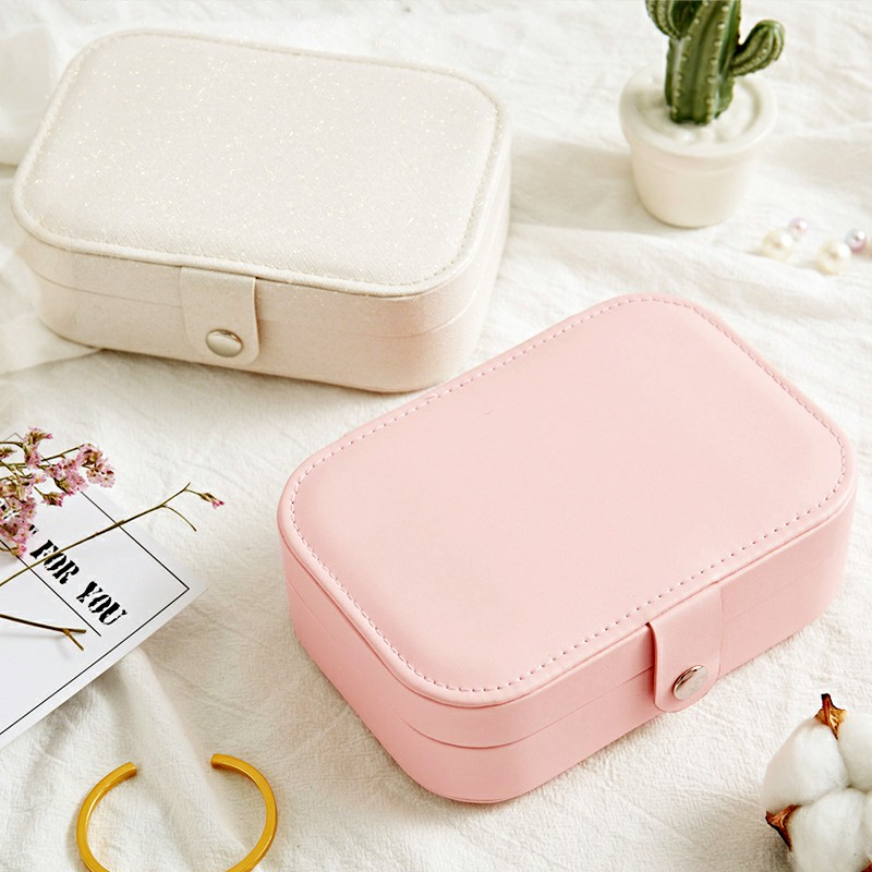 Mini Small Jewelry Organizer Display Storage Case for Women Earrings Rings Leather Box Organiser
