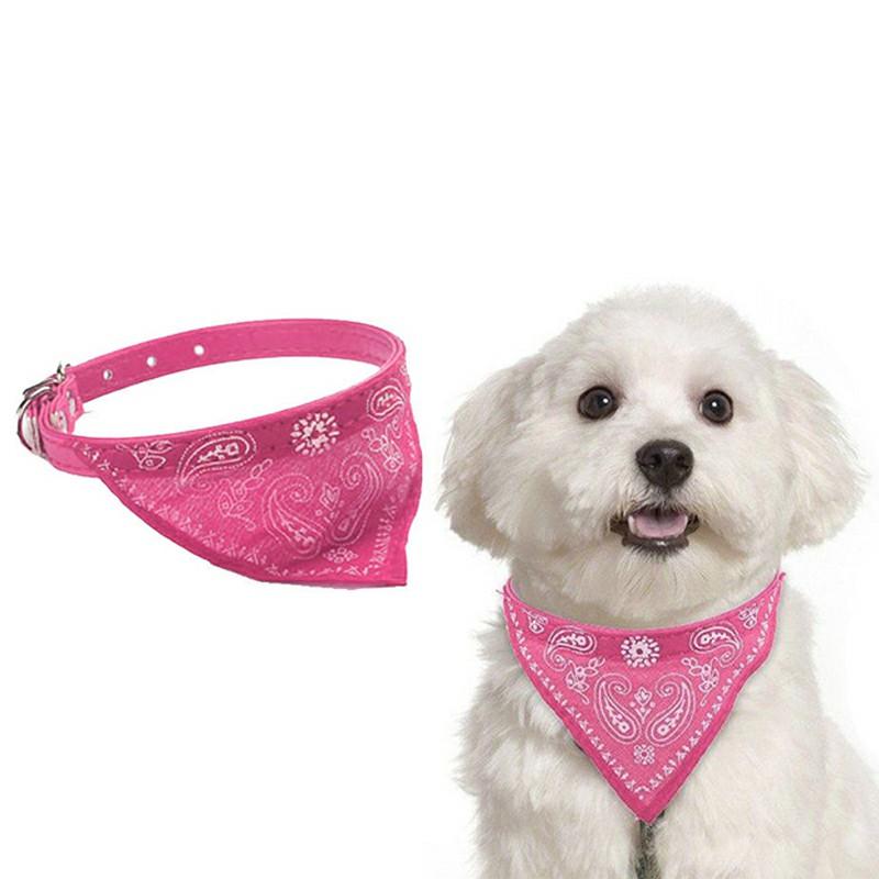 Adjustable Pet Neck Scarf Bandana With Collar Neckerchief - Size S Hot Pink