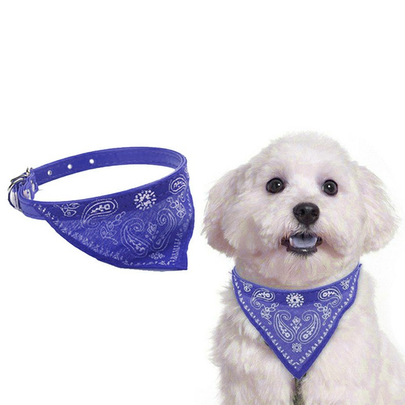 Adjustable Pet Neck Scarf Bandana With Collar Neckerchief - Size S Blue