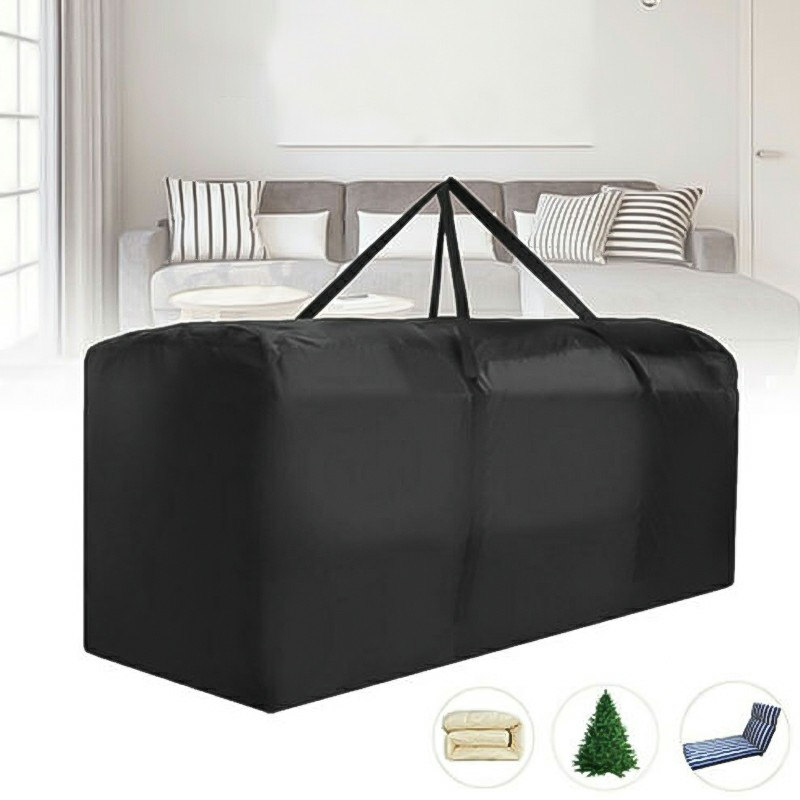 Outdoor Cushion Heavy Duty Waterproof Cover Storage Bag Garden Furniture Covers 173x76x51cm - Black