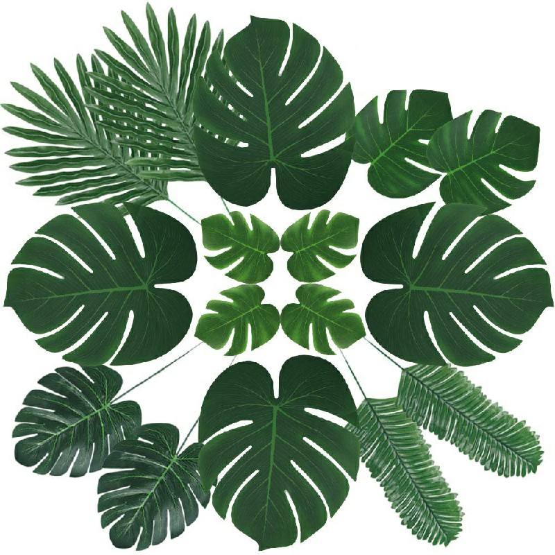 60pcs 6 kinds Tropical Artificial Palm Leaves Hawaiian Luau Jungle Beach Theme Party Decor