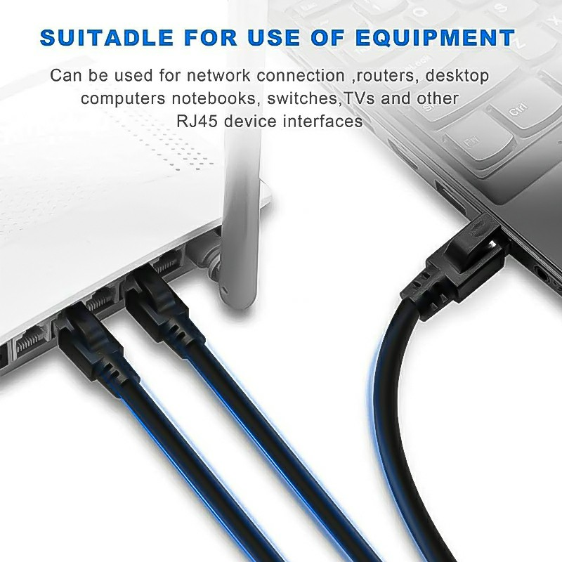 RJ45 Network Patch Cord Cat8 LAN Cable 2000Mhz 40Gbps Suitable for Router Mac Laptop - 10FT