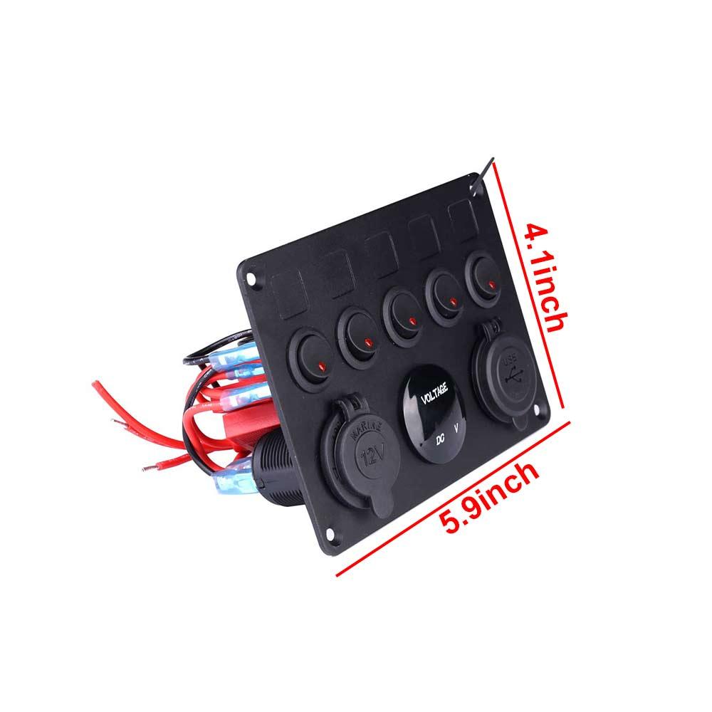 5 Gang Campervan RV 12V LED Light Switch Control Panel Voltmeter USB Charger CW