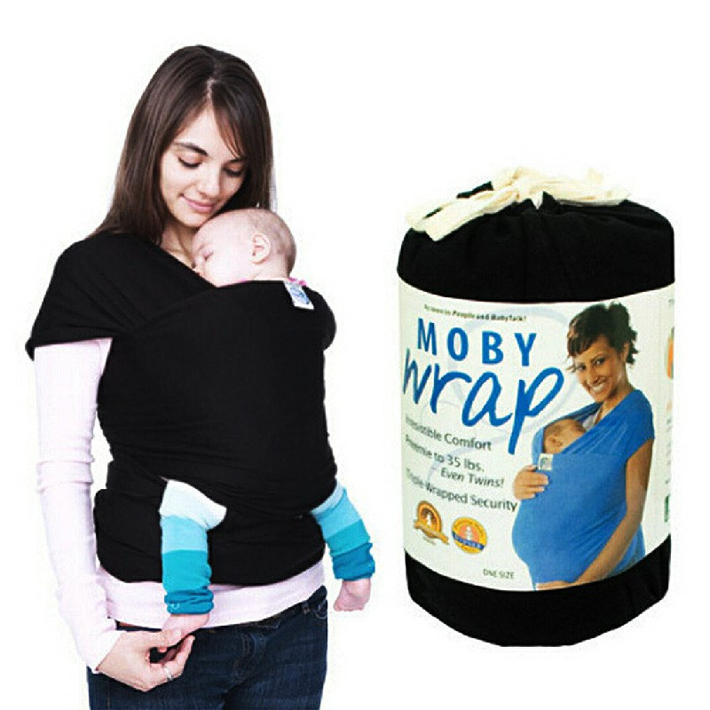 Top New Cotton Stretchy Infant Baby Carrier Breastfeed Sling Wrap Backpack - Black