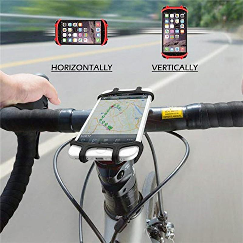 Soft Silicone Mobile Phone Bracket Shockproof Anti-shake Bike Phone Bracket - Black