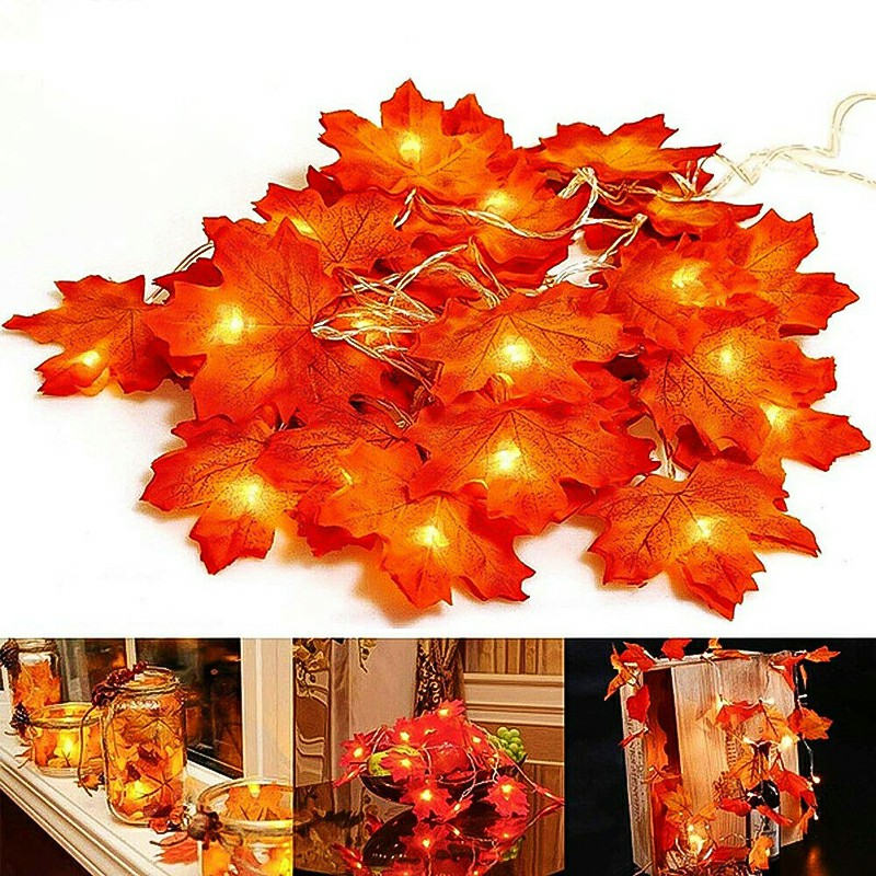 4m 40 LEDs Maple Leaves Fall Garland String Light Decor Halloween Christmas Decor