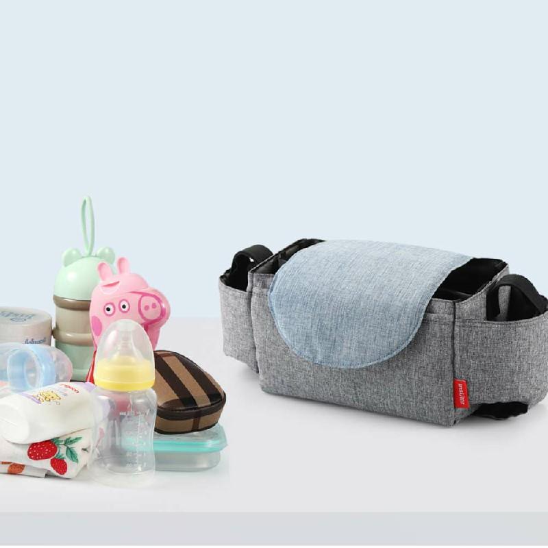 Storage Bag Organiser Mummy Bottle Cup Holder for Buggy Stroller Pram Pushchair - Grey