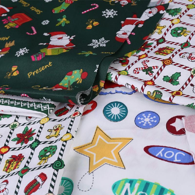 10 pcs Christmas Polycotton Fabric Sqauare Bundles Fat Quarters 25CM Squares Craftswork