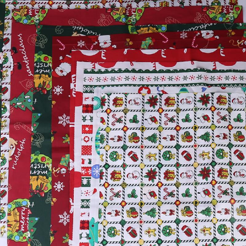 10 pcs Christmas Polycotton Fabric Sqauare Bundles Fat Quarters 50CM Squares Craftswork