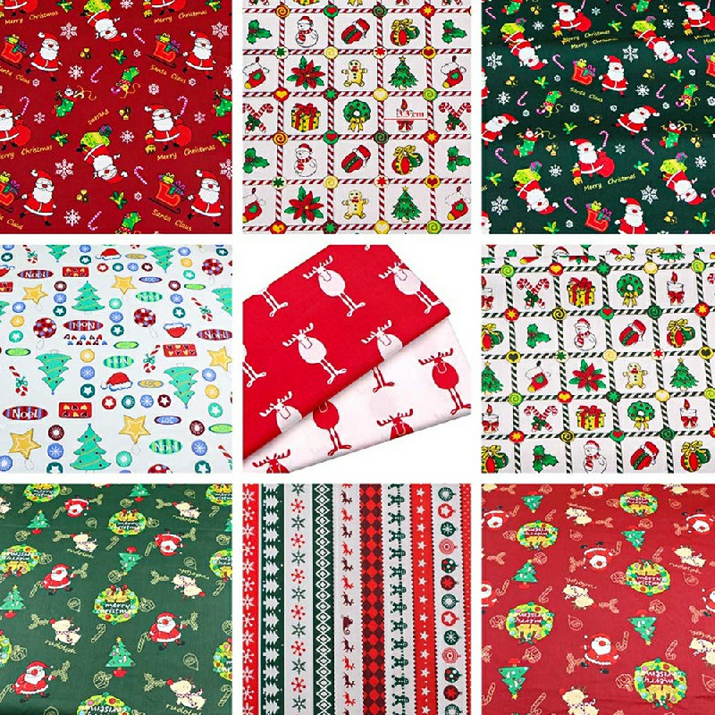 10 pcs Christmas Polycotton Fabric Sqauare Bundles Fat Quarters 25CM Squares Craftswork