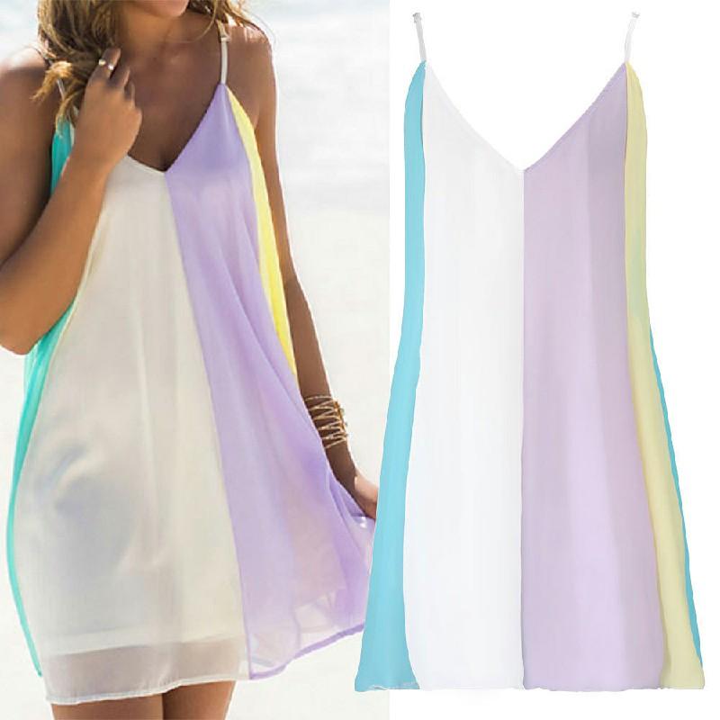 Fashion Summer Women Chiffon Rainbow Harness Dress Beach Party Wearings Size S
