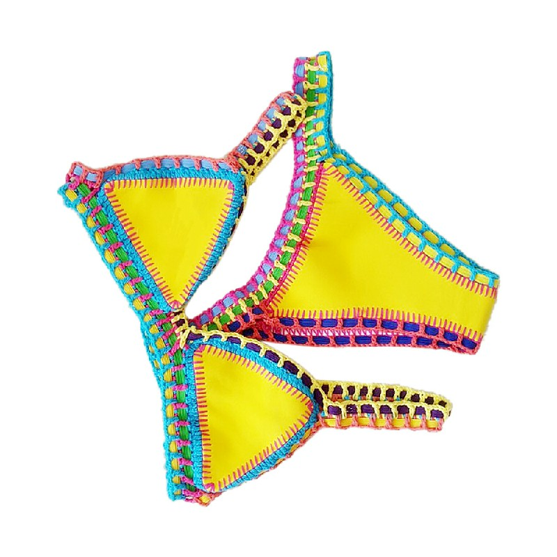 2pcs Women Sexy Handmade Crochet Halter Knit Bikini Swimsuit Set Size M - Yellow