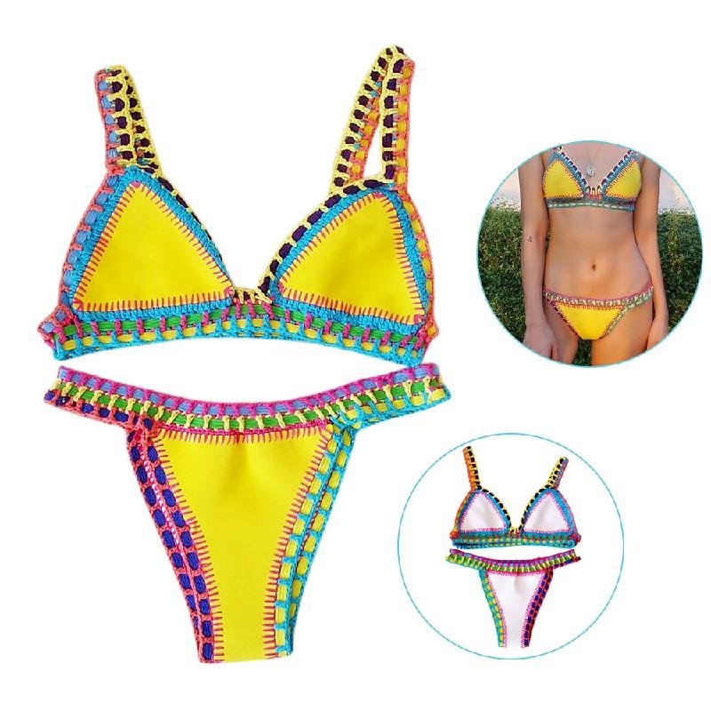 2pcs Women Sexy Handmade Crochet Halter Knit Bikini Swimsuit Set Size L - Yellow