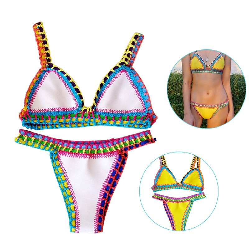 2pcs Womens Bikini Beach Push-up Crochet Bra Swimsuit Bohemia Bathing Suit Size L - White